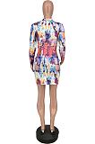 Sexy Tie Dye Long Sleeve Round Neck Mini Dress ZZS8362