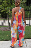 Sexy Tie Dye Sleeveless One Shoulder Wide Leg Jumpsuits ZZS8356