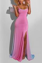 فستان طويل غير رسمي بدون أكمام برقبة سكوب وفتحة رقبة واسعة ZZS8350