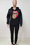 Fleece Hooded Mouth Graphic Printing Sets LD9067