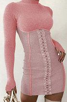 ملابس نسائية لخريف وشتاء فستان مثير بياقة واقفة Q739