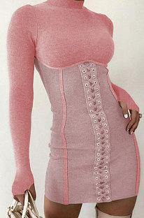 Womenswear Autumn Winter Stand Collar Bind Sexy Dress Q739