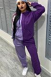 Calças casuais moda esporte emendado cor pura casual duas peças QY5030