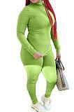 Moda feminina Pure Color Fashion Side Slit Fleece de duas peças QY5031