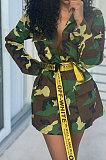 Casaco feminino longo Camo Casaco casual de manga comprida Q8045