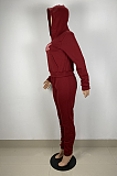 Sporty Polyester Letter Long Sleeve Spliced Hoodie Long Pants Sets LS6408