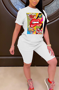 Casual Polyester Pop Art Print Short Sleeve Round Neck Tee Top Shorts Plus Sets PT98056