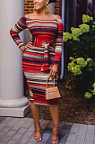 Casual Sexy Striped Long Sleeve Off Shoulder Notched Neck Long Dress ZZS8357