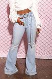 Polyester Mid Waist Belt Flare Leg Pants LD9054