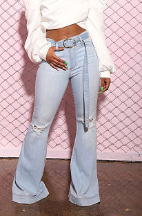Calças de perna de poliéster com cintura larga e cintura larga LD9054