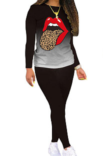 Gradient Mouth Graphic Long Sleeve Round Neck Sets LD9073