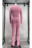 Cute Polyester Long Sleeve Spliced Tee Top Capris Pants Sets X9277