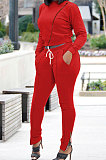 Jacket Double Open Zipper Sexy Cultivate One's Morality Long Sleeve Round Neck Trouser Leg Zipper Two-Piece AYS0036