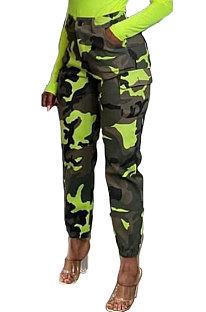 Calças de cintura alta casual de impressão outono inverno AWL5829
