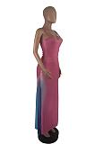 Vestido longo casual simplee sem mangas com alças decote redondo dividido bainha ZZS8350