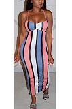 Sexy Striped Square Neck Slip Dress ZZS8347