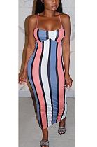 فستان مثير مخطط بفتحة رقبة مربعة ZZS8347