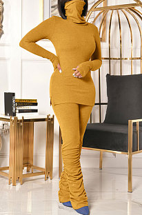 Fashion Casual High Neck To Do The Mask Shrinkage Pleated Pants Two-Piece OMY8103