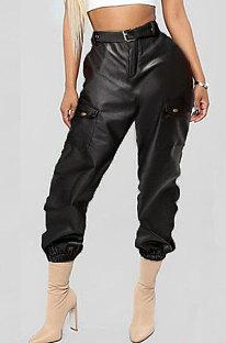 Pure Color Fashion Casual Calças Calças de Couro PU Contendo Cinto LD8575