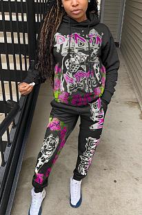 Conjuntos de calças compridas casual de poliéster carta pop art com capuz manga comprida cintura média OH8010