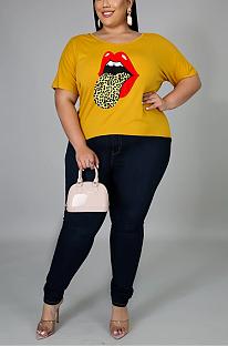 Повседневные футболки с коротким рукавом и круглым вырезом Simplee Mouth Graphic NYY99058