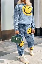 Casual Tie Dye Long Sleeve Hoodie Printed Smiley Face Long Pants Sets LBA1009