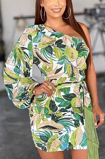 Sexy manga comprida folha estampada estilo tropical manga única cintura cinto vestido midi