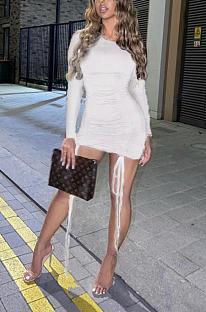 Mini vestido casual fofo de manga comprida em volta do pescoço com babados apertado LBA0968