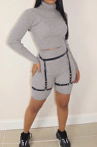 Casual At Home High Neck Long Sleeve Shorts Stretch Thead Sets WM930
