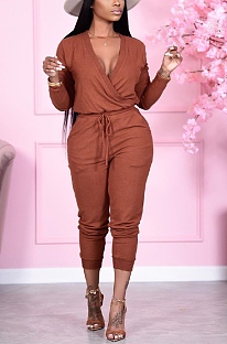 Casual Sexy Simplee Long Sleeve Deep V Neck Waist Tie Casual Jumpsuit YS459