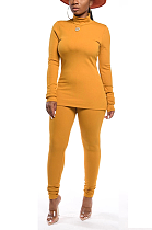 Cute Polyester Long Sleeve High Neck Tee Top Long Pants Sets KZ064