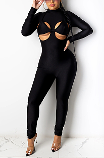 Casual Polyester Long Sleeve Round Neck Spliced Bodycon Jumpsuit CYF3758