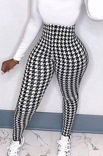 Calças compridas justas com estampagem de cintura alta elástica feminina BLE2213