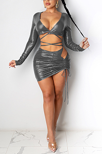 Sexy Long Sleeve V Neck Self Belted Spliced Tee Top Above Knee / Short Skirt Sets CYF3754
