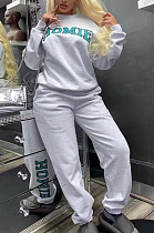 Casual Polyester Letter Long Sleeve Round Neck Spliced Tee Top Long Pants Sets TD8001
