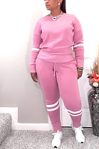 Casual Sporty Long Sleeve Round Neck Spliced Long Pants Sets WM926