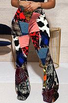 Sexy Panty Fashion Color Matching Casual Long Pants Flare Leg Pants WT9054