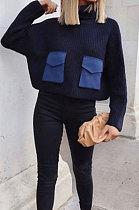 Long Sleeve High Neck Sweater Autumn Winter Spliced Jacket XQ1035
