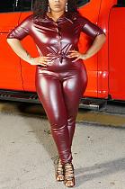 Polyester Long Sleeve Lapel Neck Buttoned Spliced Long Pants Capris Pants Sets CCY1388