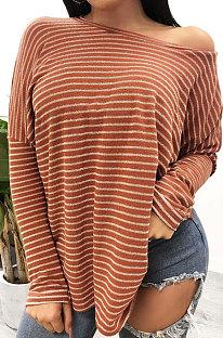 Moda feminina outono inverno listra jaqueta estampada de manga comprida XQ1014