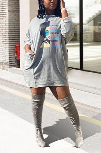 Casual pop art estampa manga comprida em volta do pescoço liso e bolso vestido midi KZ207