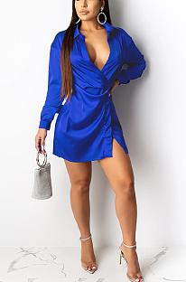 فستان قميص مثير بأكمام طويلة وفتحة رقبة على شكل V SH7121