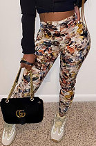 Womenswear Tie Dye Printing Sport Casual Pants Ladies Straight Leg WT9043