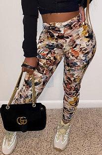 Moda feminina com impressão tie-dye calça esporte casual feminina perna reta WT9043