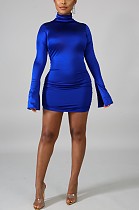 Sexy Long Sleeve High Neck Shirred Detail Mini Dress SH7148