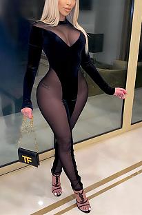 Macacão sexy de poliéster manga longa em volta do pescoço emendado bodycon CCY8828