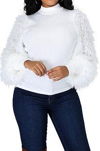 Casaco de manga longa em volta do pescoço Pure Color YF8772