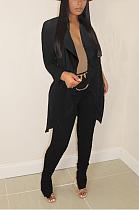 Casacos casuais de poliéster manga comprida babado longline top calças compridas conjuntos de cardigãs AMM8300