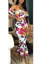 Sexy Floral Short Sleeve Off Shoulder Flounce Crop Top Midi Skirt Sets SH7112