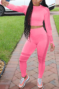 Casual Sporty Long Sleeve Round Neck Spliced Tee Top Long Pants Sets YZM7126